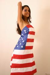 Polliana's nude body wrapped in USA flag - Photo #85